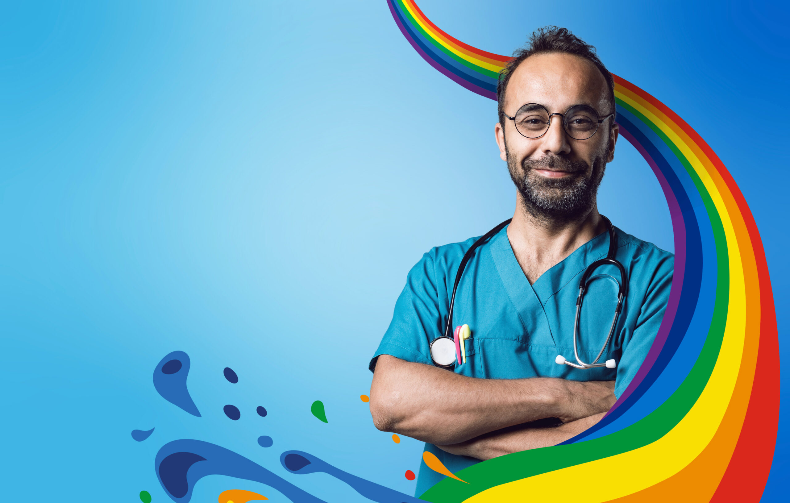 A happy NHS doctor surrounded by the NHS Big Tea Rainbow