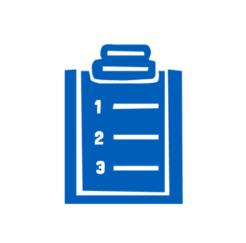 Blue icon of a check list for planning your party