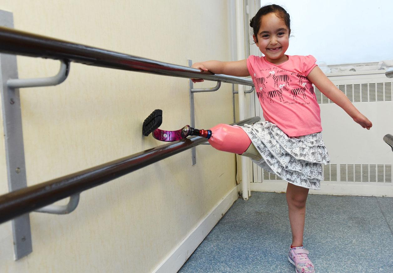 Girl stretching her leg